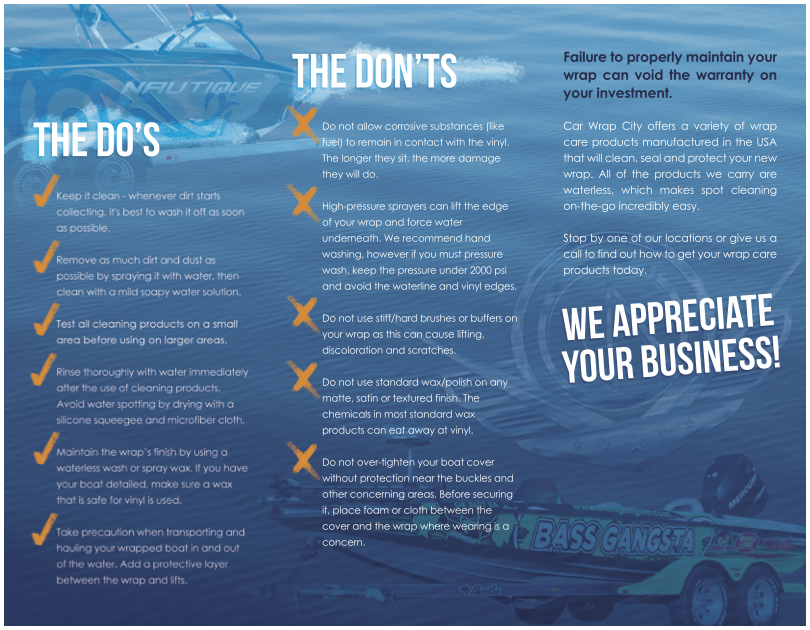 Boat Wrap Customer Care Brochure Page 2