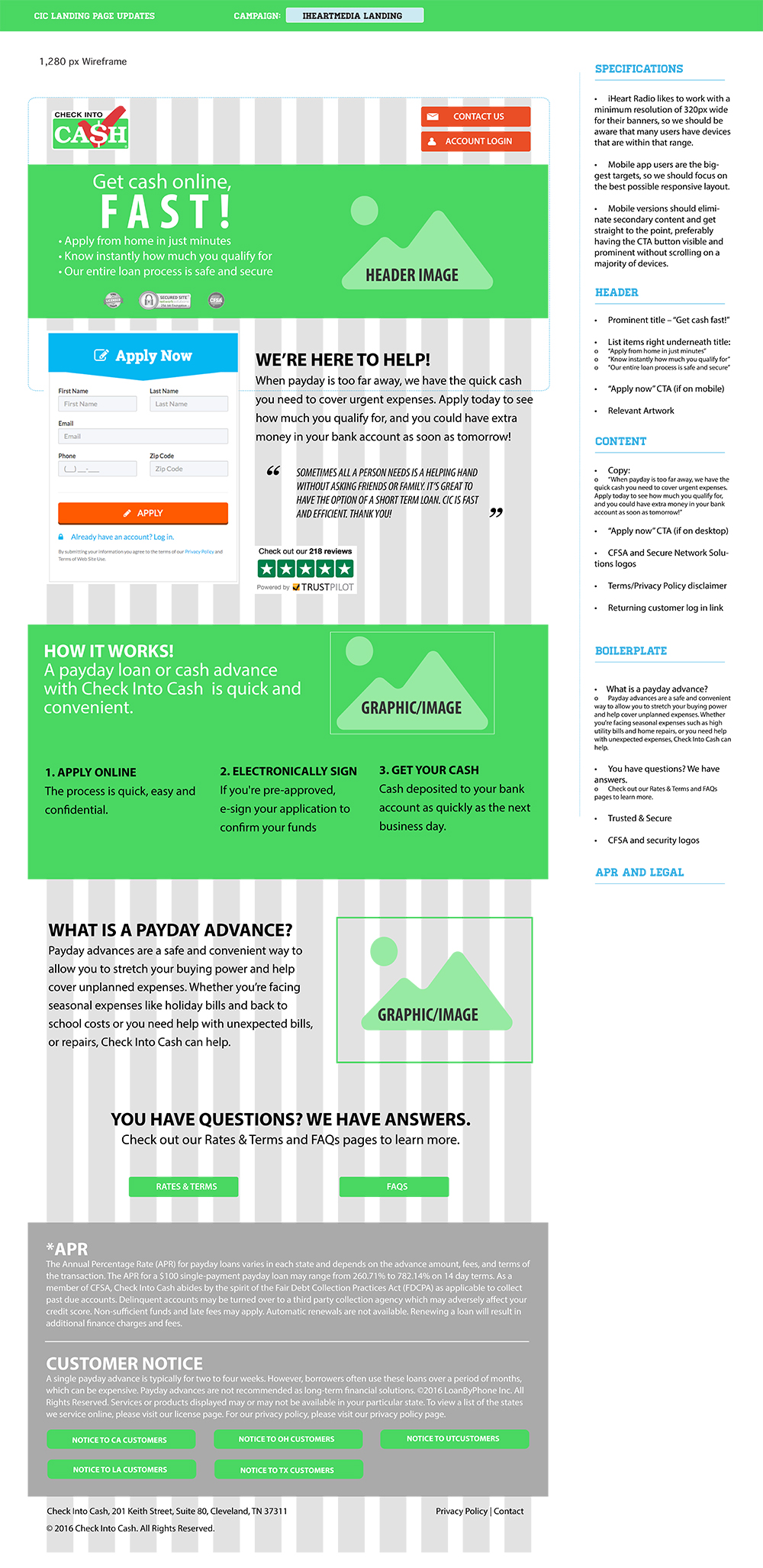 Wireframe for I Heart Media Landing Page