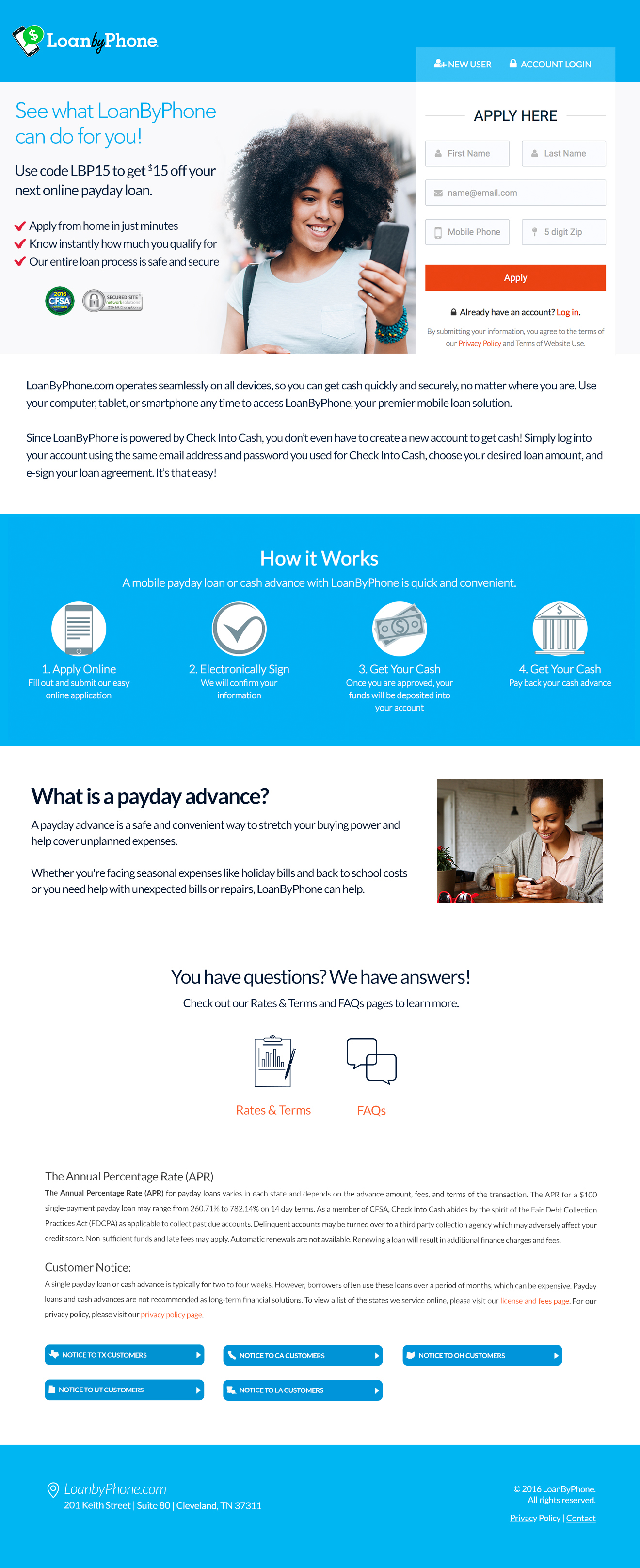 Landing Page for Loan by Phone brand launch