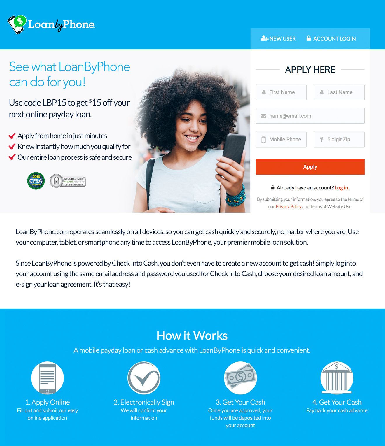 Closeup on Landing Page for Loan by Phone brand launch