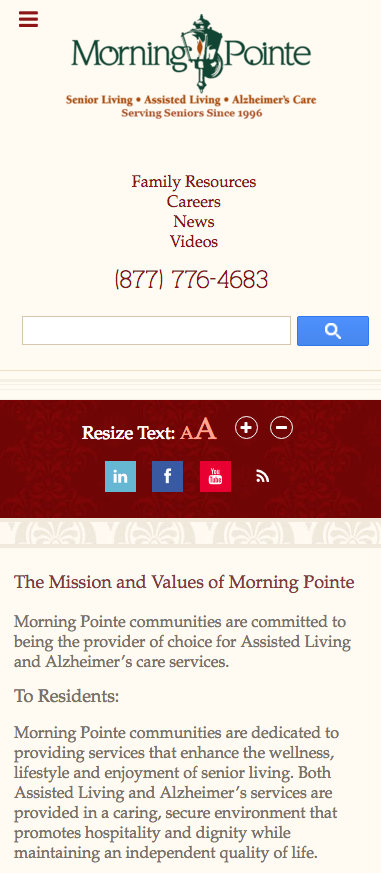Morning Pointe Mobile Site