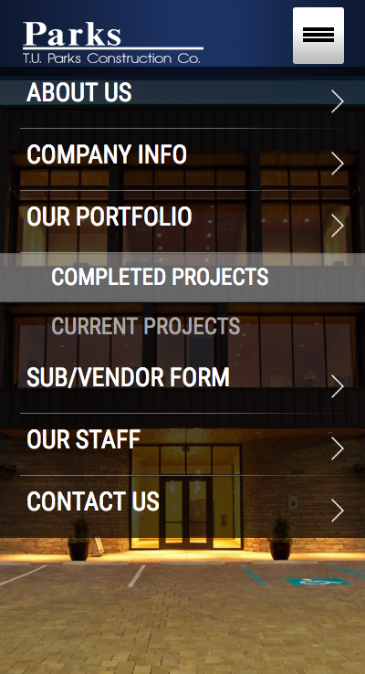 TU Parks Construction Mobile Responsive Site