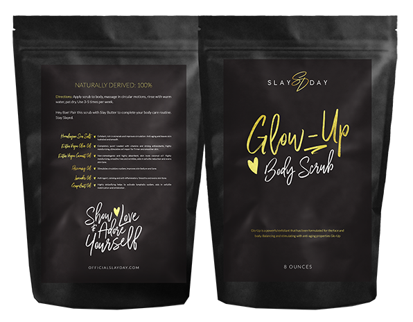 A mockup of the body scrub package