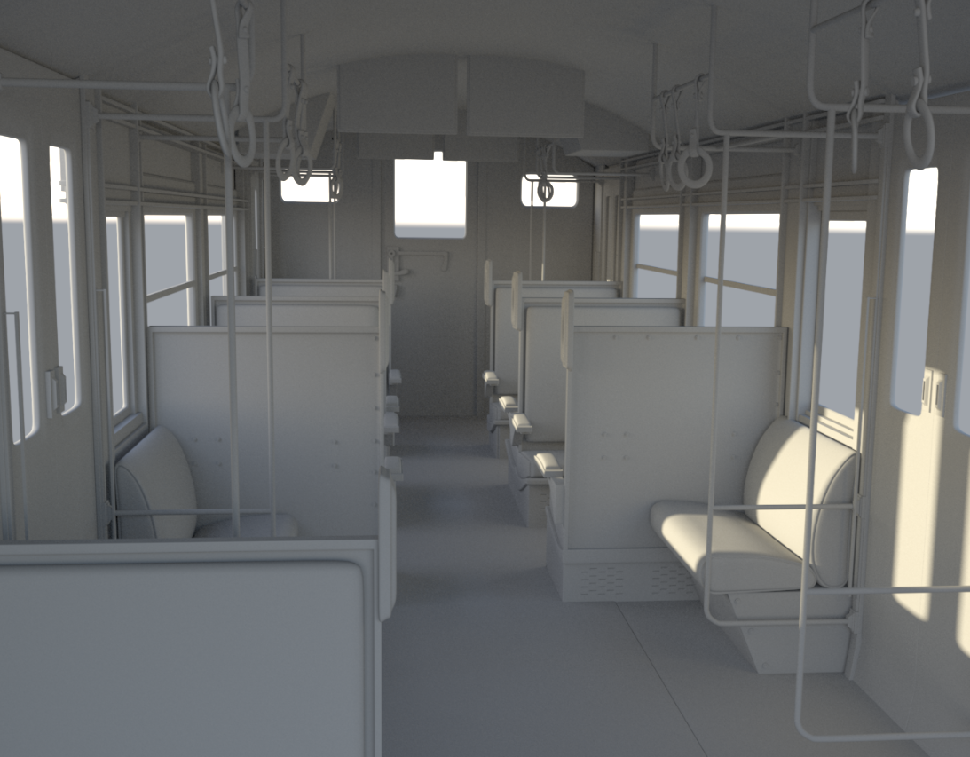 3D render of train interior model